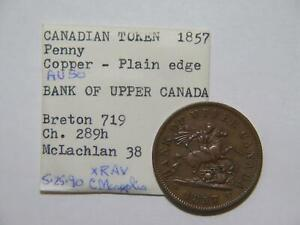 UPPER CANADA ONE PENNY BANK TOKEN 1857 EX: DONALD G PARTRICK BRETON 719 #WE🌈⭐🌈