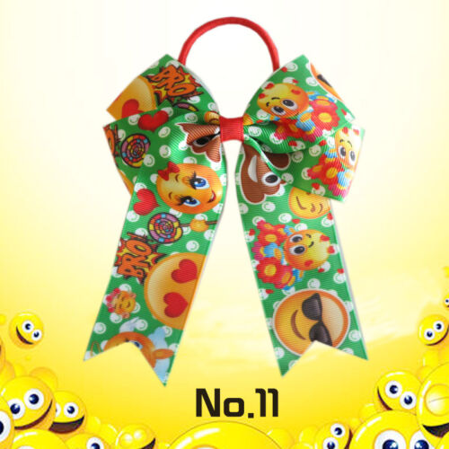 """12 BLESSING Happy Girl Hair Accessories Long Tail 4.5/"""" Cheer Leader Bow Elastic"""