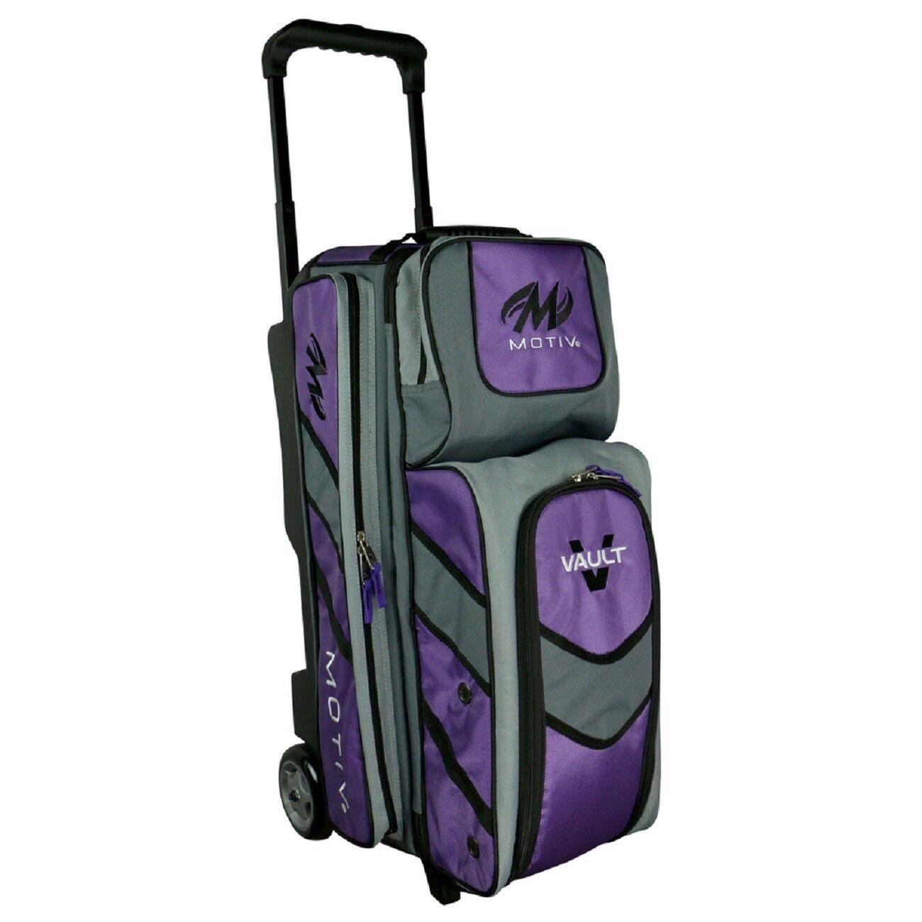 Motiv Vault Deluxe 3 Ball Roller Bowling Bag 5  Urethane Wheels Purple NEWEST