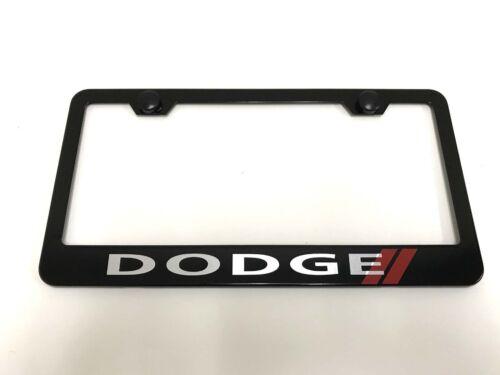 Dodge//// Laser Style BLACK Stainless Steel License Plate Frame w//bolt caps