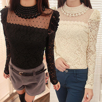 Women's Fashion Long Sleeve O-Neck Sexy Lace Tops Blouse Dress Shirt