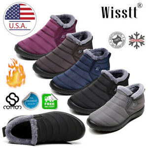 Women-Snow-Boots-Warm-Fur-Lined-Ankle-Booties-Waterproof-Slip-On-Winter-Shoes-BJ