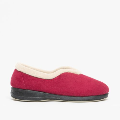 Details about  /Sleepers OLIVIA Ladies Womens Faux Suede Rubber Sole Warm Full Slippers Wine