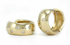 FINE DIAMOND HUGGIES HOOP EARRINGS 14K YELLOW GOLD HIGH POLISH