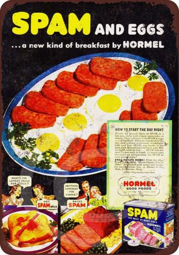 "Hormel Spam and Eggs Rustic Retro Metal Sign 8/"" x 12/"""