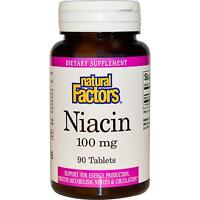 Vitamin B3 (niacin) - 90 - 100mg Tablets By Natural Factors -for Energy & Nerves