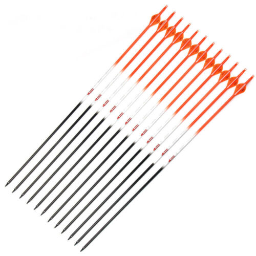 "12 X 31"" CARBON ARROWS 2"" FLETCH ORANGE PATTERN SP400 COMPOUND RECURVE BOW"