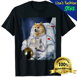 Cute Shiba Inu Shirt Astronaut To The Moon Funny Men Women Unisex T-Shirt