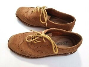 Women/'s oxford shoes brown with suede dots details