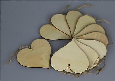 10 WOODEN Large Heart Star Bear Unpainted Shapes Gift Tags 80mm Craft Decoration