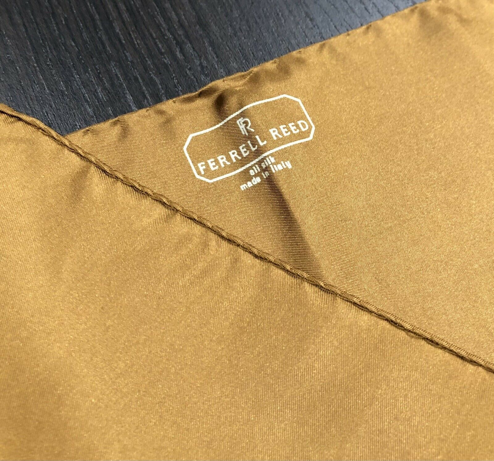 "Ferrell Reed Made In Italy Orange Silk Pocket Square 17"" Handkerchief EUC"