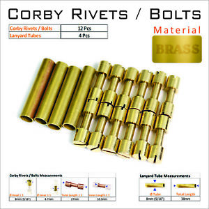Knife-Handle-Bolts-12-Or-6-Brass-Corby-Rivets-Lanyard-Tubes-Knifesmithing-Supply