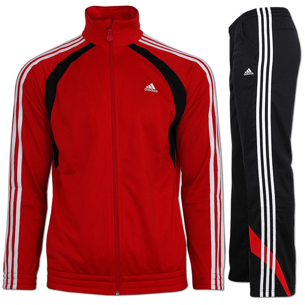 Adidas Polyester Trainingsanzug Jogginganzug  Sportanzug rot-schwarz  | Zürich