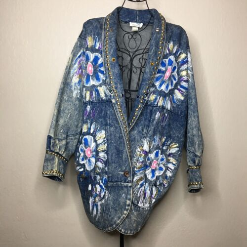 80s VTG Blue Diamond Oversized Studded Painted Flo