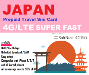Details about Only $1 9/day Japan Travel Data Sim - 15 days Unlimited data  Softbank 4G/LTE