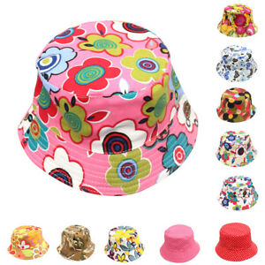 0ba75c8bde204 Details about Girls Kids Baby Summer Toddler Outdoor Floral Bucket Hat  Canvas Sun Cap Novelty