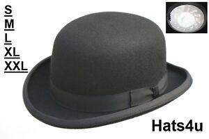 mens bowler hat black 100% wool s m l xl xxl 56 58 59 60 61 62 64cm 394f6a93d52