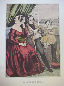 Vintage-Currier-amp-Ives-America-Color-Print-Married
