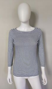 Vineyard-Vines-Womens-Top-XS-Cotton-Blend-White-Navy-Blue-Striped-3-4-Sleeve