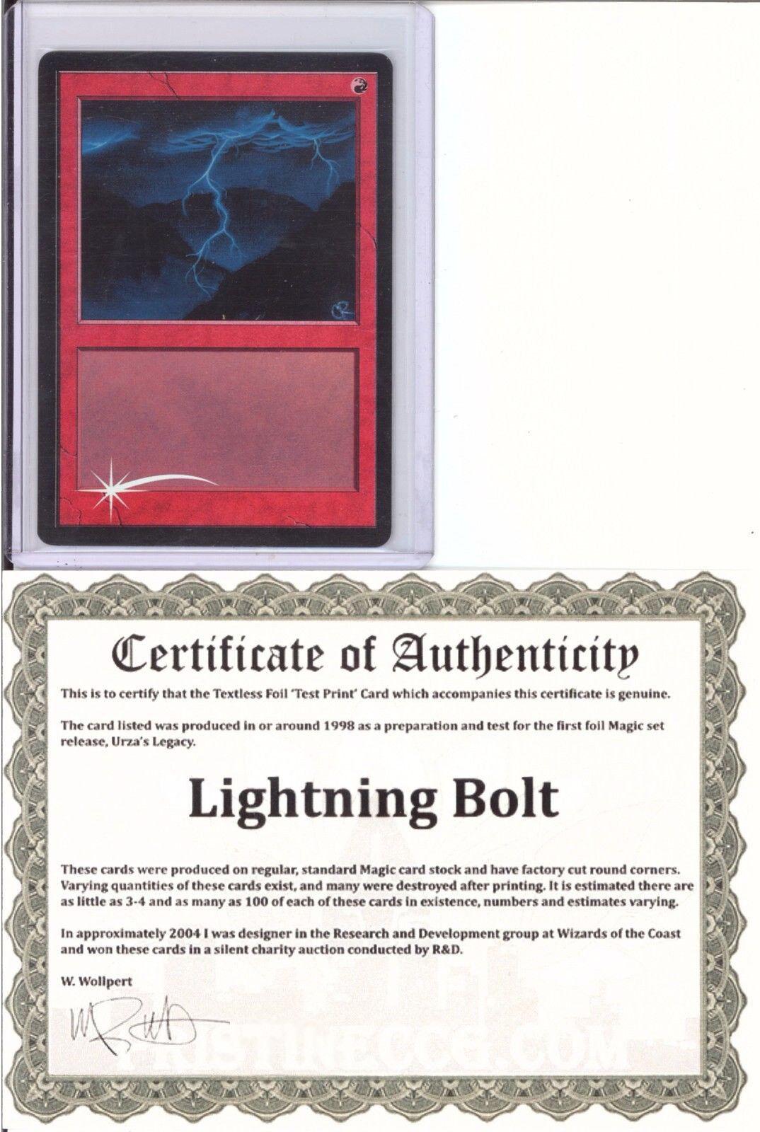 lightning bolt textless foil test print mtg magic the