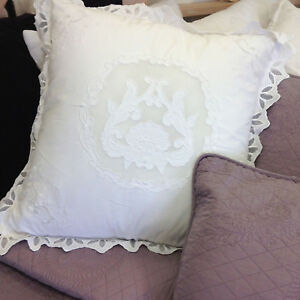 Shabby-Chic-French-Elegant-White-Embroidered-Euro-Sham-Bed-Pillowcase-Covers