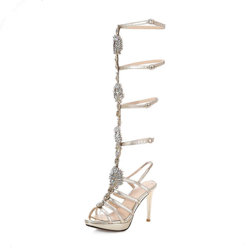 2018 2018 2018 Strassstein Damen Elegant Gladiator Sandalen High Heels Blingbling Schuhe e7e74c