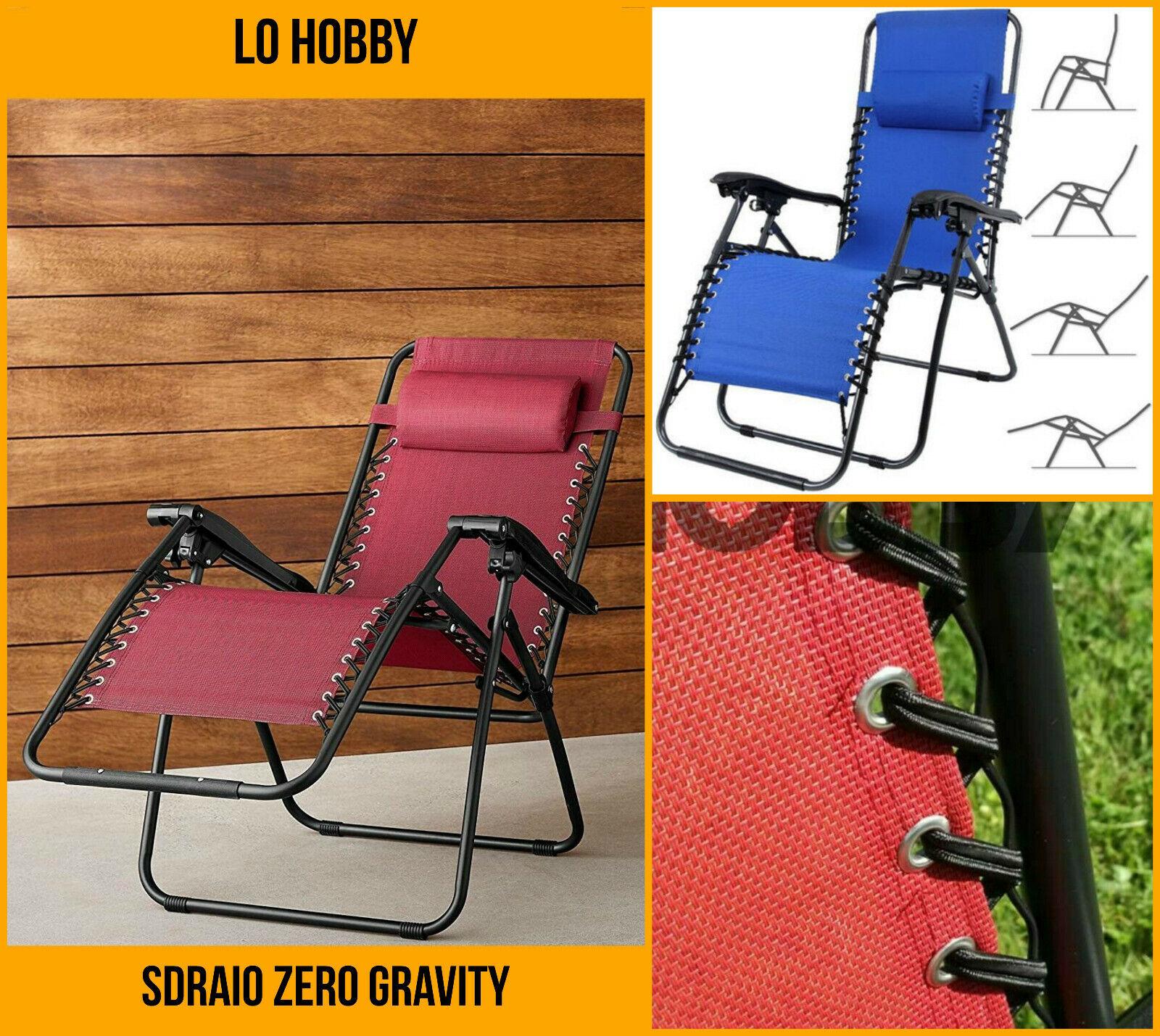 Rossa Sedia//Sdraio//Lettino reclinabile con poggiapiedi Zero Gravity