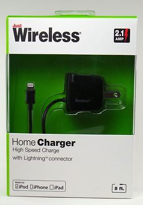 NEW Rapid 2.1 Amp Home Travel Charger W// 6ft Lightning Cable Apple ipad iphone