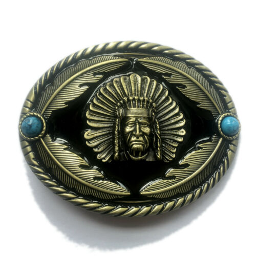 Indian Warrior Chief Belt Buckle Western Cowboy Native American YIW-01-G