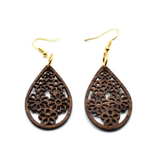 Pair-of-Brown-Wooden-Tear-Drop-Floral-Earrings-5cm-x-3cm-African-Jewellery