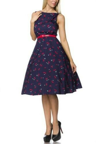Dress with Belt and Cherry Print