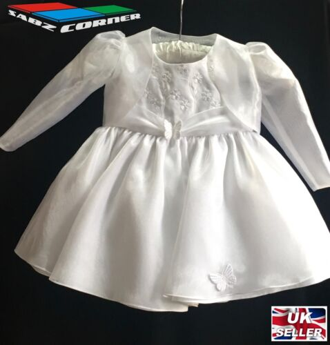 BABY GIRLS WHITE IVORY SATIN DRESS PARTY BRIDESMAID CHRISTENING WEDDING XMAS