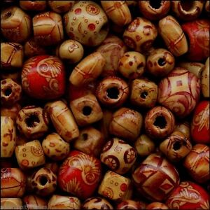Lot-500-Bamboo-Patterned-Craft-Beads-Mixed-Shapes-Sizes-Lightweight-Strong-Wood