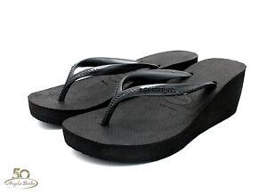 Détails sur Havaianas Tongs pour Femme Compensées High Fashion Sandales Mer Hauts Noir