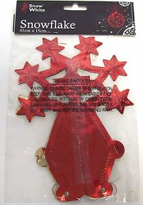 Foil-Hanging-Christmas-Decoration-Red-Gold-Snowflake-41cm-x-15cm