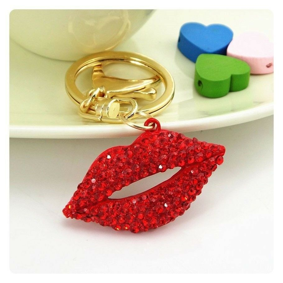 diva present party favor gift Friendship keychain, gift for girls Red glitter High Heel with lips charm key chain