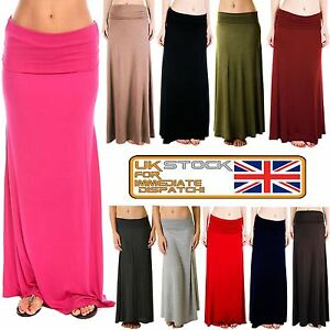 New-Ladies-Flared-Jersey-Fold-Over-Turn-Up-Waist-Long-Maxi-Skirt-Dress-8-14