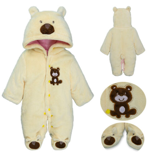 Newborn Infant Baby Boy Girl Embroidery Cartoon Hooded Romper Warm Suit 0-18M