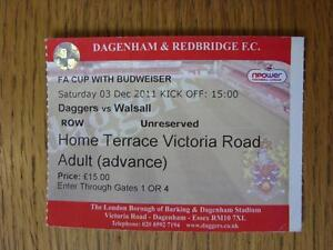 03122011 Ticket Dagenham And Redbridge v Walsall FA Cup - <span itemprop=availableAtOrFrom>Birmingham, United Kingdom</span> - Returns accepted within 30 days after the item is delivered, if goods not as described. Buyer assumes responibilty for return proof of postage and costs. Most purchases from business s - Birmingham, United Kingdom