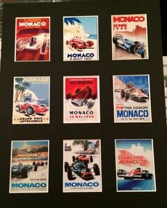 "FORMULA 1 MONACO RETRO  POSTERS 14"" BY 11"" PICTURE MOUNTED READY TO FRAME"