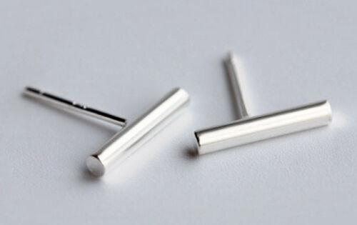 0.82g Solid Sterling Silver 10mm Minimalist Line Bar Stud Earrings Earrings 925