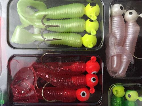 Fishing Lures Set Jig Lead Head Hooks Soft Worm Grub Single Tail Bait LovelB hx