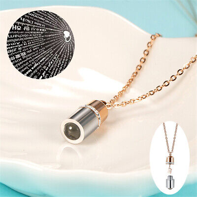100 Languages Microscopic Carving Projection I Love You Necklace Chain Gift 8C