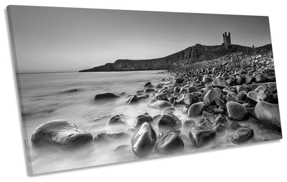 Dunstanburgh Castle Scene Sunset B&W PANORAMA CANVAS CANVAS CANVAS WALL ART Picture Print d5a170