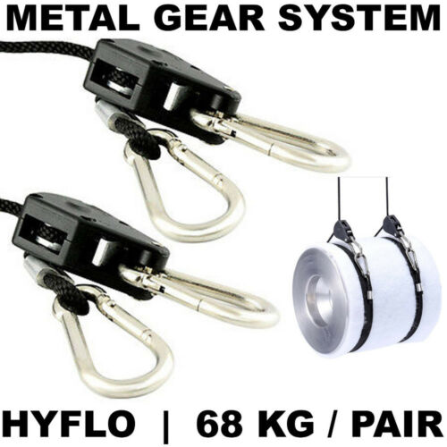 HYFLO 68KG Adjustable Rope Ratchet Heavy Duty Grow Light Hanger PAIR METAL GEAR