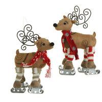 Raz 6.5 Inch Skating Reindeer Ornament Set Of 2 Hi 3329163