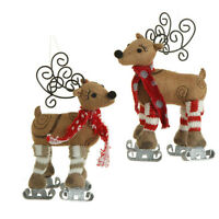 Raz 6.5 Inch Skating Reindeer Ornament Set Of 2 Hi 3329163