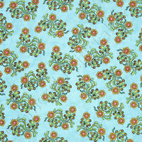 RJR Dan Morris Sew Catty Cat Floral Blue Flower Cotton Quilt Quilting Fabric /Yd