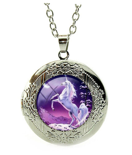 Unicorn Horse Locket Pendant Necklace with a Gift Box Fast Shipping