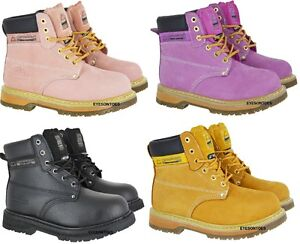 f75203a1ce4 Details about LADIES PINK GROUNDWORK SAFETY STEEL TOE CAP LEATHER WORK  HIKING BOOTS SIZE 3-8